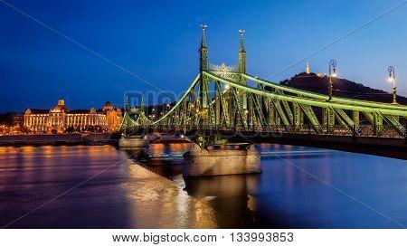 Night view of the Liberty bridge at Budapest, Hungary