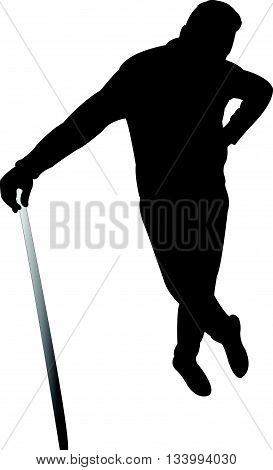 man with baton, black color silhouette vector