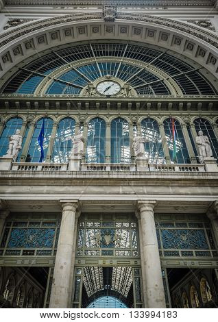 The front facade of East Railway (Keleti) station in Budapest,Hungary.