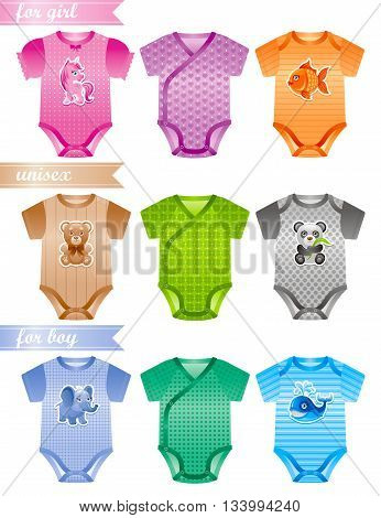 Baby clothes icon set with fashion girl, boy and unisex body suits. Colorful decors with cute pony unicorn, fish, teddy bear, panda, elephant, whale