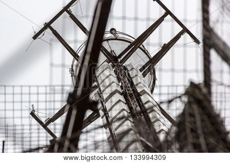 Close view on the top of the Eiffel Tower