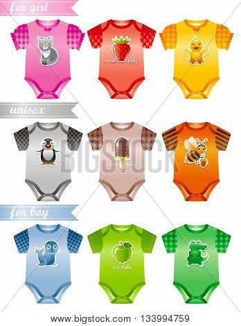 Baby clothes icon set with fashion girl, boy and unisex body suits. Colorful decors with cute cat, strawberry, duckling, pinguin, ice cream, bee, seal, apple, crocodile