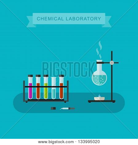 Chemical laboratory vector banner with flat icons of scientific and chemical equipment. Illustration of chemical experiences.