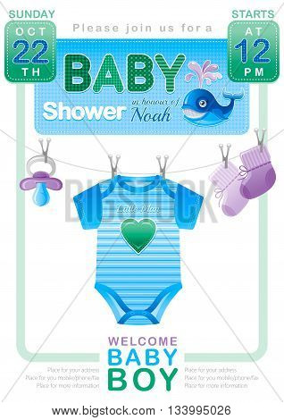 Baby shower boy invitation design with body suit, socks, soother in blue and green color on white background. Cute whale icon with water fountain