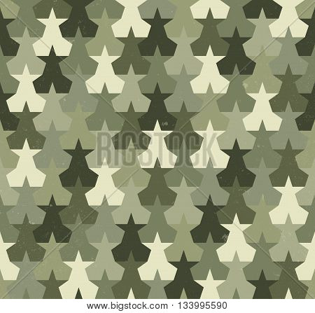 Camouflage seamless pattern with abstract stars shapes. Military background.
