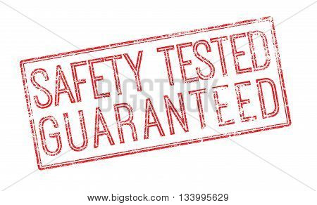 Safety Tested Guaranteed Red Rubber Stamp On White