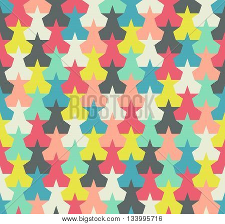 Seamless pattern. Background with colorful abstract stars