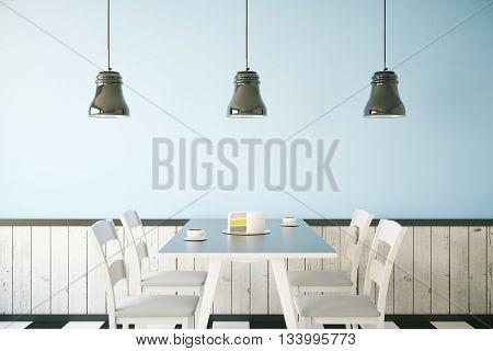 Cafe interior with cake and two coffee cups on table light blue wall and three ceiling lamps. 3D Rendering