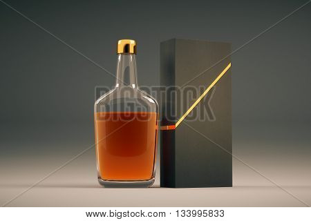Full transparent cognac bottle and packaging without lables. Mock up 3D Rendering