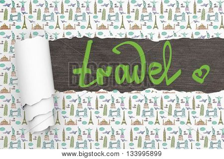 Travel concept with ripped patterned and writing on dark wooden surface