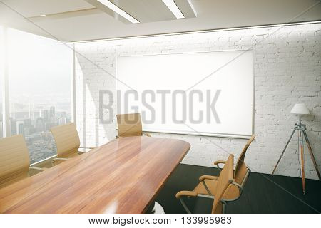 Modern conference room interior with wooden table chairs floor lamp and blank whiteboard on brick wall. Mock up 3D Rendering