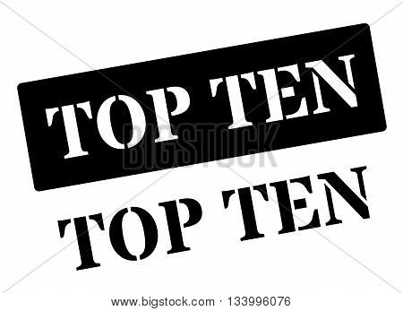 Top Ten Black Rubber Stamp On White