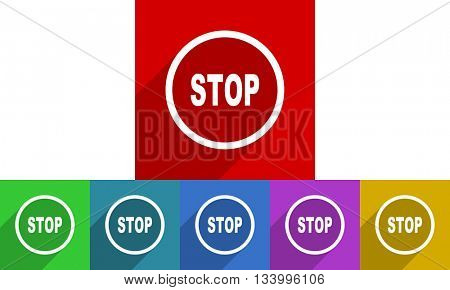 stop vector icons set, flat design colored internet buttons, web and mobile app illustration