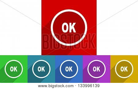 ok vector icons set, flat design colored internet buttons, web and mobile app illustration