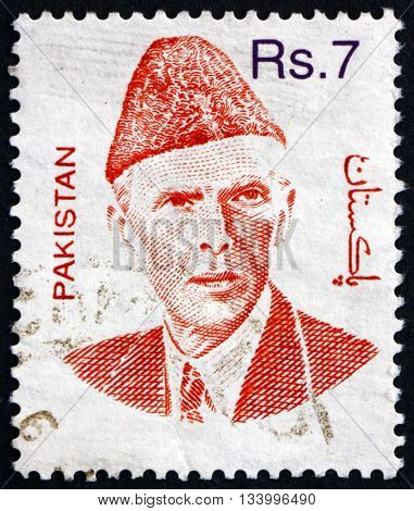 PAKISTAN - CIRCA 1998: a stamp printed in Pakistan shows Mohammad Ali Jinnah Lawyer Politician and the Founder of Pakistan circa 1998