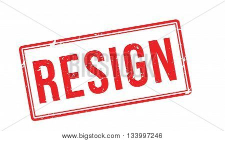 Resign Red Rubber Stamp On White