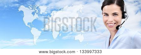 contact us customer service operator woman with headset smiling isolated on international map sky background