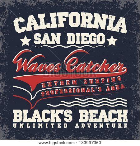 Grunge Surfing t-shirt graphic design grunge surfing print stamp California surfers wear typography emblem Creative design Vector