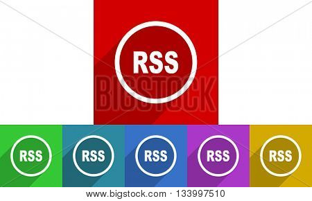 rss vector icons set, flat design colored internet buttons, web and mobile app illustration