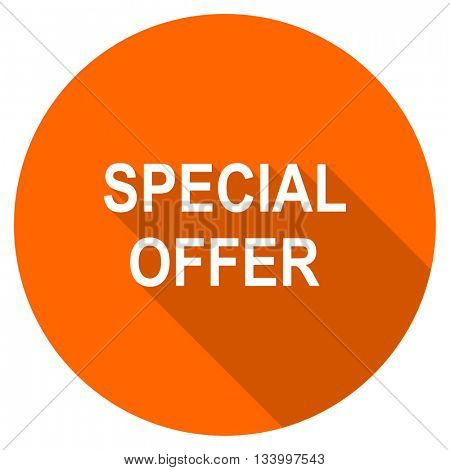 special offer vector icon, orange circle flat design internet button, web and mobile app illustration