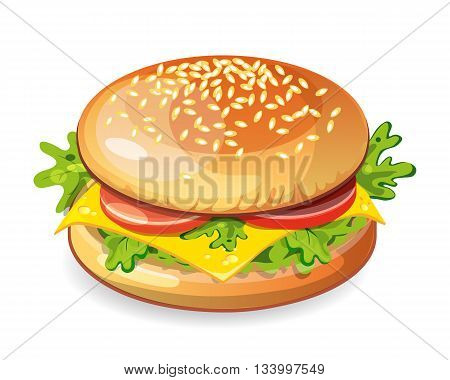 Isolated vegetarian hamburger on white background. Fresh sandwich with beef, lettuce, tomato, bun and cheese. American fast food.