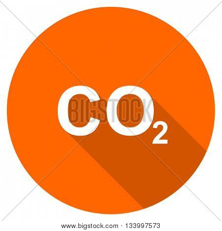 carbon dioxide vector icon, orange circle flat design internet button, web and mobile app illustration
