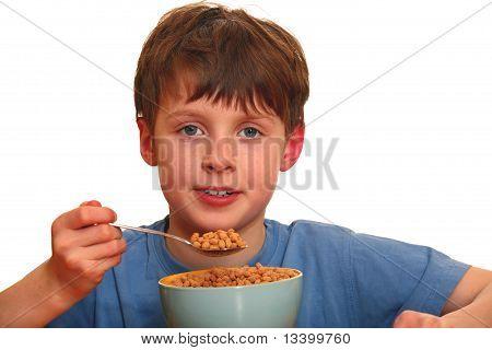 Boy eating cereals