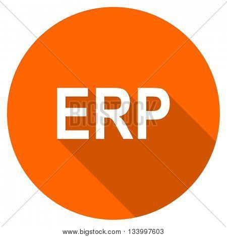 erp vector icon, orange circle flat design internet button, web and mobile app illustration