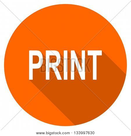print vector icon, orange circle flat design internet button, web and mobile app illustration