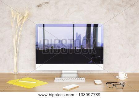 Computer Monitor On Designer Desktop