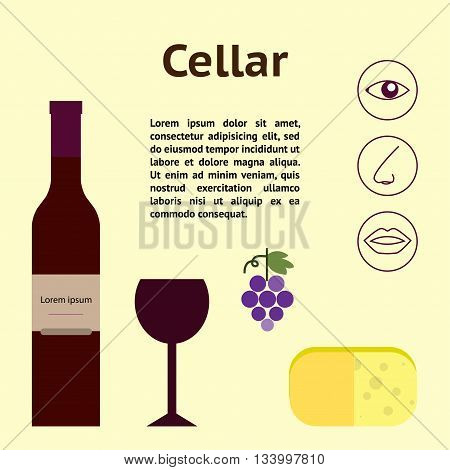 Wine cellar decorative icons set vector illustration with place for text and signs wine tasting