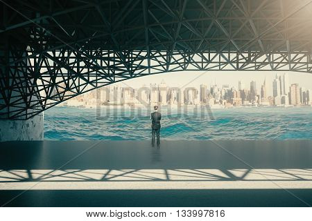 Thoughtful man standing under bridge and looking at river on city background. 3D Rendering