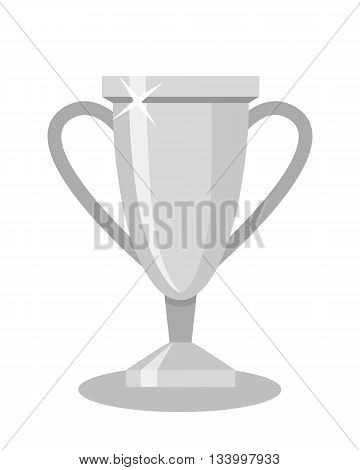 Isolated silver cup on white background. Concept of prize, leadership, winning and success. Winner award. Second place.