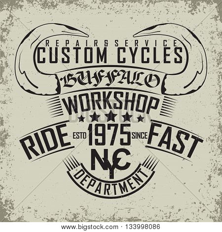 Grunge Motorcycle vintage graphics Hot rods typography print Biker T-shirt stamp teeshirt graphic vintage Motorcycle garage Emblem grunge vintage hot rods service center emblem vector
