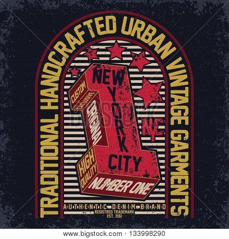 Vintage Denim typography grunge t-shirt graphics vector