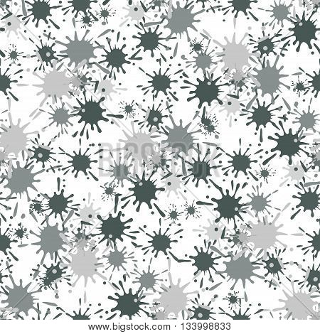Seamless pattern with gray paint spots ink splashes. Grunge drop blot dirty messy. Vector illustration for textile, print, wallpapers, packaging