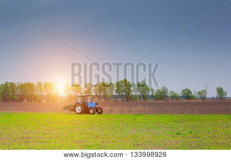 In the morning at sunrise tractor rides to plow a field