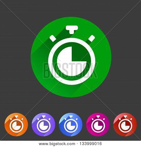 Timer, stopwatch clock icon flat web sign symbol logo label set deign