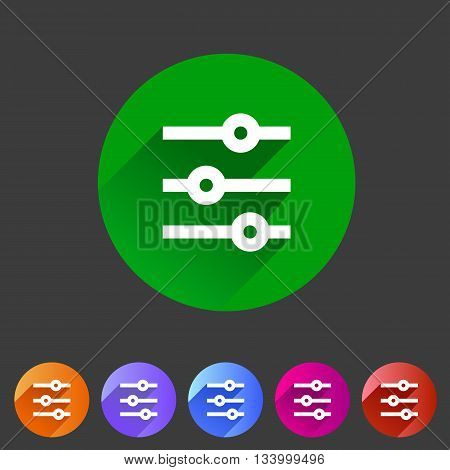 Filter sort settings icon flat web sign symbol logo label set