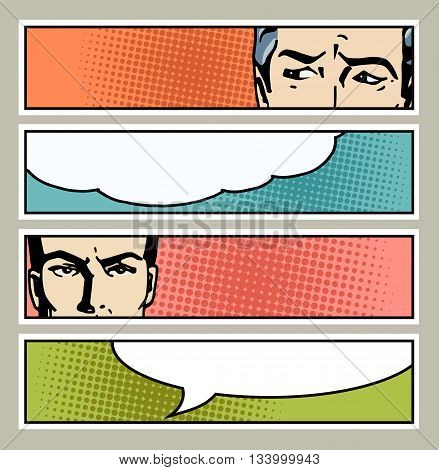 Pop art banner with male eyes and blank space for text. Cartoon man eyes with speech bubble. Vintage advertising poster. Comic hand drawn vector illustration.