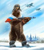 Caricature personage. Furious bear with a kalashnikov assault rifle and a cap a soldier. The collect poster