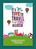 Time to Travel, Flat 20% off on Booking Now, Creative Template, Banner or Flyer design for Tour and  poster