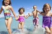 stock photo of happy family  - A group of Happy Children running - JPG