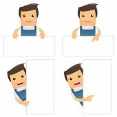 image of pipefitter  - set of funny cartoon office worker in various poses for use in presentations - JPG
