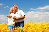 picture of elderly couple  - Smiling happy  elderly couple in love outdoor - JPG