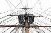 stock photo of yardarm  - Ships mast and rigging with crows nest - JPG