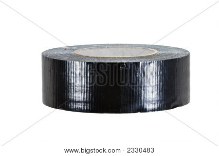 Roll Of Black Duct Tape, Isolated On White