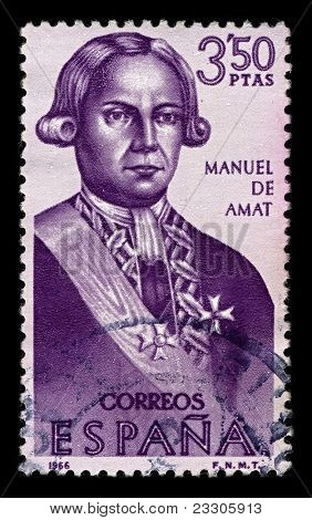 SPAIN-CIRCA 1966:A stamp printed in SPAIN shows image of Felipe Manuel Cayetano de Amat y de Juniet was a Spanish military officer and colonial administrator,circa 1966