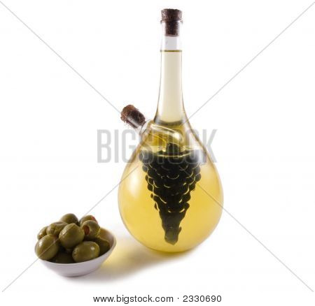 Bottle of vinegar and olive oil on