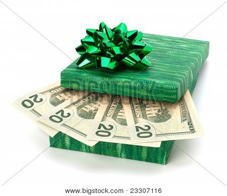 Donation concept. Money inside gift box isolated on white background.